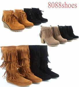 5942a8502a0cb Women's Round Toe Fringe Flat Wedge High Heel Mid Calf Ankle Boots ...