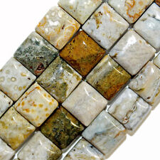 OCEAN JASPER GEMSTONE BEADS DOUBLE 2 HOLE SQUARE 10X10MM STRAND