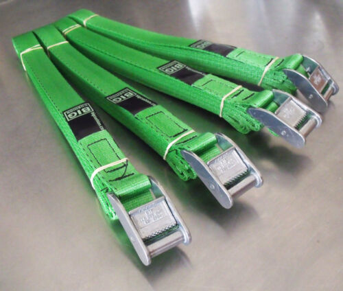 Tie-down Cargo Lashing Strap Belt 4-pack of 5.0m TOUGH Cam Buckle Straps Green