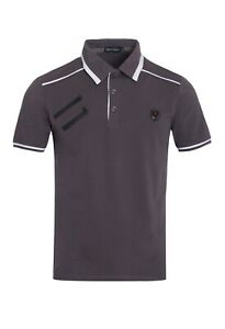 New-Mens-Short-Sleeve-Polo-Shirt-Slim-Fit-Stretch-Gray-White-Accent-Black-Zipper