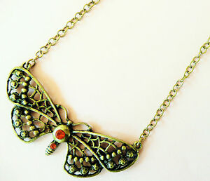 ACCESSORIZE-GOLD-NECKLACE-LARGE-BUTTERFLY-DESIGN-WITH-BEAUTIFUL-ORANGE-STONES