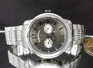 ed2088ac5ef Tommy Bahama TB3061 Moon Phase Men's Day & Date Silver Tone Watch ...