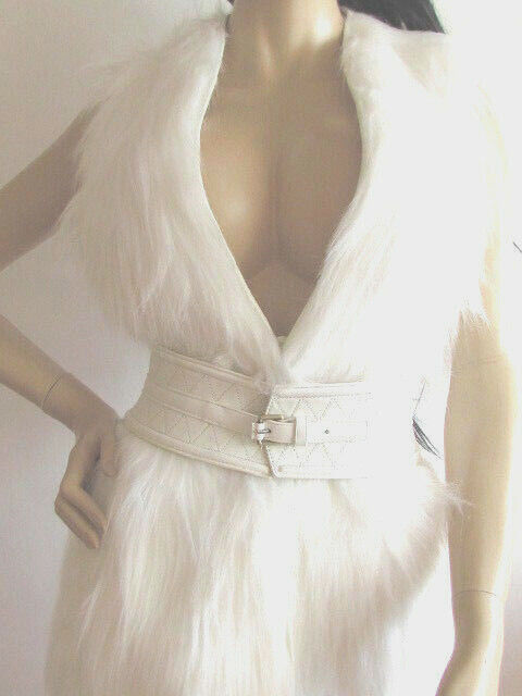 NEW DESIGNER W BY WORTH NEW YORK WHITE FAUX FUR VEST SIZE SMALL MED