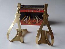 *NOS Vintage 1980s Georges Sorel Gold anodised Alu pedal toe clips - Medium*