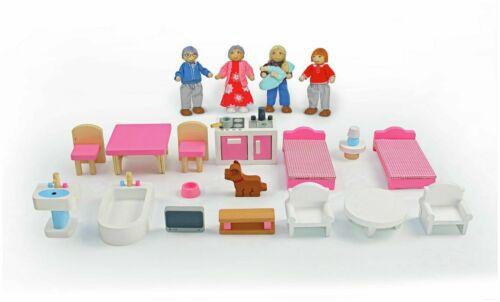 GIOVE Workshop casa di bambole in legno mobili playset comprende 18 PEZZI Nuovo Regno Unito