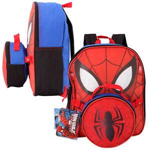 Marvel Spiderman Boys Kids School 12 Backpack w/ Lunch Bag Case