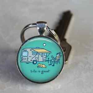 CAMPER KEYCHAIN LIFE IS GOOD AIRSTREAM SILVER BULLET CAMPING KEYRING ... a09255eb09