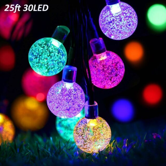 solar lights outdoor string 30 led 25ft christmas parties decor crystal ball