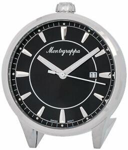 Montegrappa-Fortuna-Noir-Cadran-Acier-Inoxydable-Quartz-Bureau-Horloge-Idfotcib
