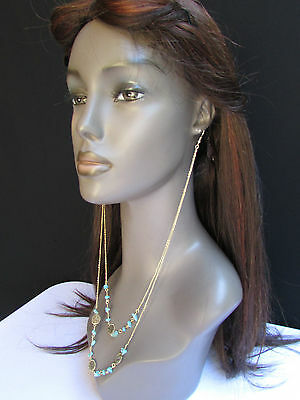 New Women Necklace Earrings Long Connected Gold Coins Chains Fashion Stone