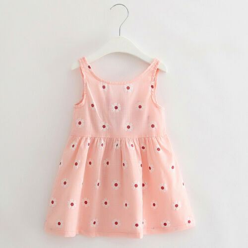 Infant Baby Girls Summer Bow Floral Sleeveless Casual Princess Dress Clothing I