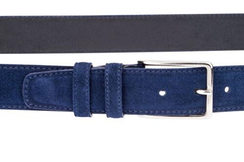 Blau Wildledergürtel 100/% Italienischer Leder Herren Damen Suede Belt 100 cm