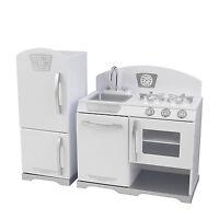 Kidkraft 2 Piece Wooden Retro Kitchen Cooking Pretend Play Set Kids Toy, White on sale