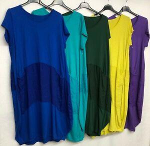 New-Italian-Lagenlook-Quirky-Boho-Jersey-Soft-Cotton-Stretch-Pocket-Tunic-Dress