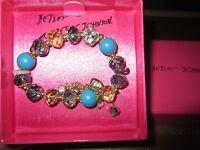 Betsey Johnson Stretch Bracelet Gift Box $36 Retail Blue Gold