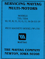 Maytag Gas Motor Engine Service Book Parts Manual & Serial List Model 92 82 72