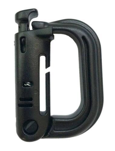 2 Soportes mosquetón molle D negro pareja accesorio táctico black lock ABS