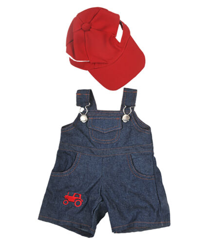 "Farmer Outfit with Cap Teddy Bear Clothes Fits Most 14/""-18/"" Build-A-Bear and Mak"