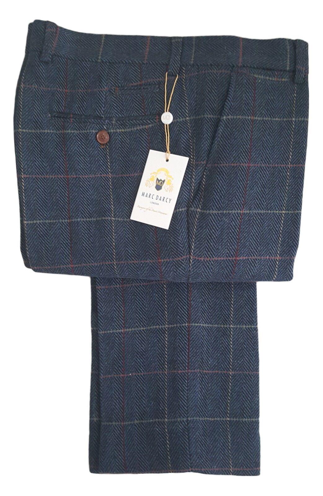 Herren Marc Darcy Tweed Karierte Hose Style Eton - Dunkelblau