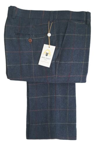 Uomo Marc Darcy Tweed a Scacchi Pantaloni Stile Eton Blu Scuro