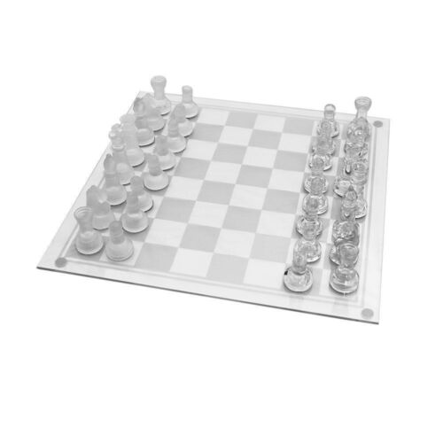 TRADITIONAL Glass Chess Board Game GIFT 32 PCS 20CM,28CM PARTY FUN FAMILY GAME
