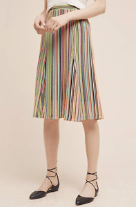 118 PRETTY ANTHROPOLOGIE MAEVE MULTICOLOR SPECTRAL STRIPE KNIT SKIRT Sz S