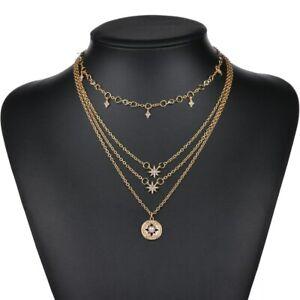 Tour-de-cou-cristal-couleur-or-bijoux-Chaine-Multicouche-Star-Femmes-collier-fashion