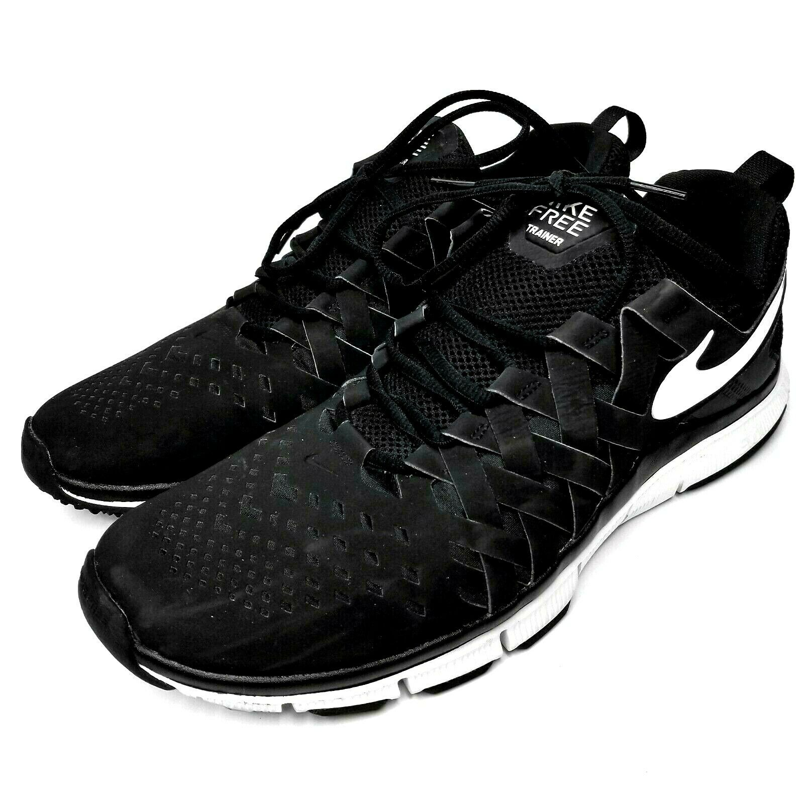 Nike Mens Free Trainer 5.0 Athletic Running shoes Black Black Black White 579809-010 Size 14 4f3e9d