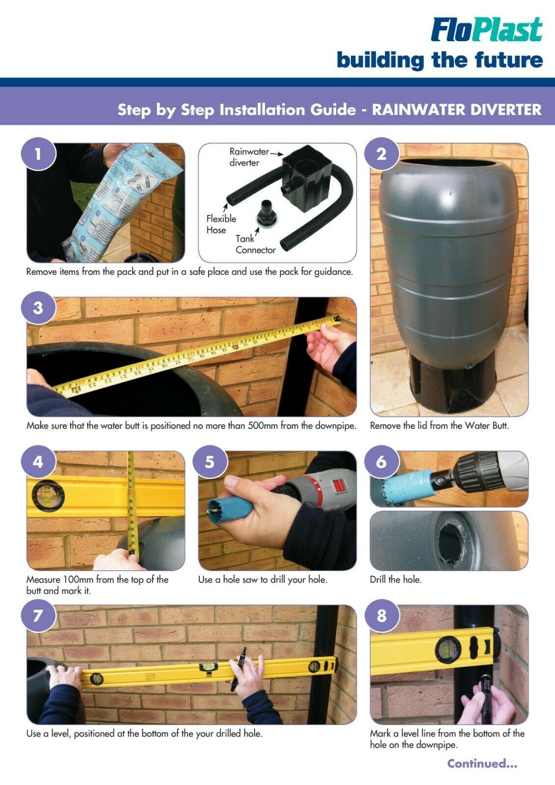 FloPlast Rainwater Diverter Kit Anthracite Grey Fits Square & Round Down Pipes