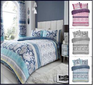Lujo-Funda-nordica-Kira-Paisley-Impreso-Reversible-Funda-de-almohada-Juego-de-Cama-Todos-Los-Tamanos