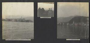 Lac Maggiore Bellagio Italia 3 Foto Vintage Analogica 1923