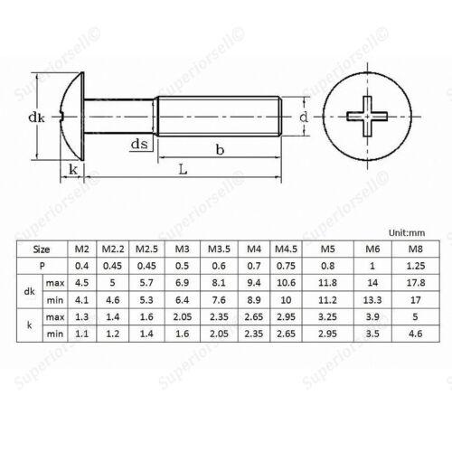 A2 304 Stainless Steel 50Pcs M2*3-8mm Phillips Truss Head Machine Screws Kit