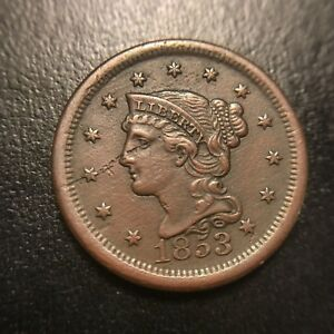 1853 Braided Hair Large Cent Uncirculated UNC Coronet Late Date Newcomb EAC
