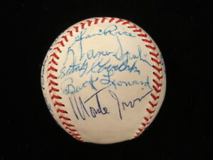 Baseball-HOFers-Multi-Signed-Baseball-w-Mrs-Babe-Ruth-amp-Mrs-Lou-Gehrig-PSA-DNA