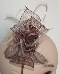 New-Mocha-brown-looped-sinamay-fine-feather-aliceband-fascinator-wedding-races