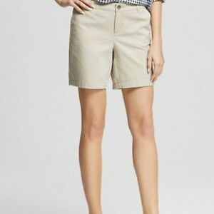 Merona-Casual-Shorts-Beige-Khaki-Size-8-with-9-034-Inseam-Women-039-s-100-Cotton