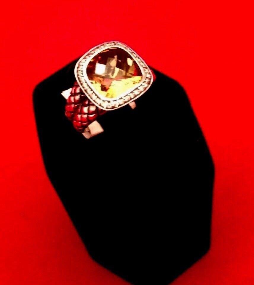 SCOTT KAY NEW CITRINE DIAMOND RING BRAIDED AUTHENTIC  Sz 7 AUTHENTIC RARE