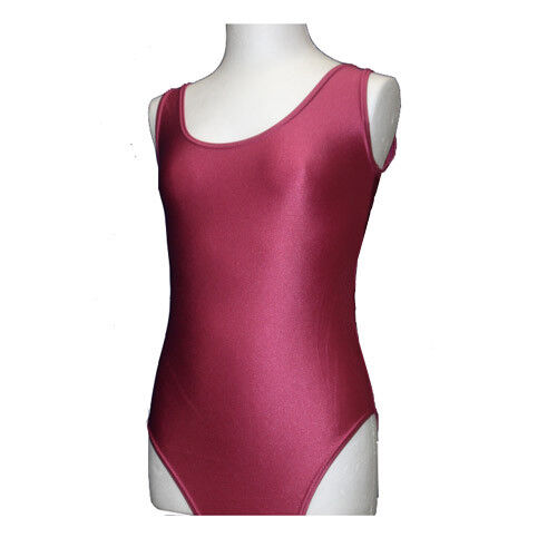 AGE 9-11, RASPBERRY PINK Leotard SHINY Girls Sleeveless Dance June Nylon Gym NB