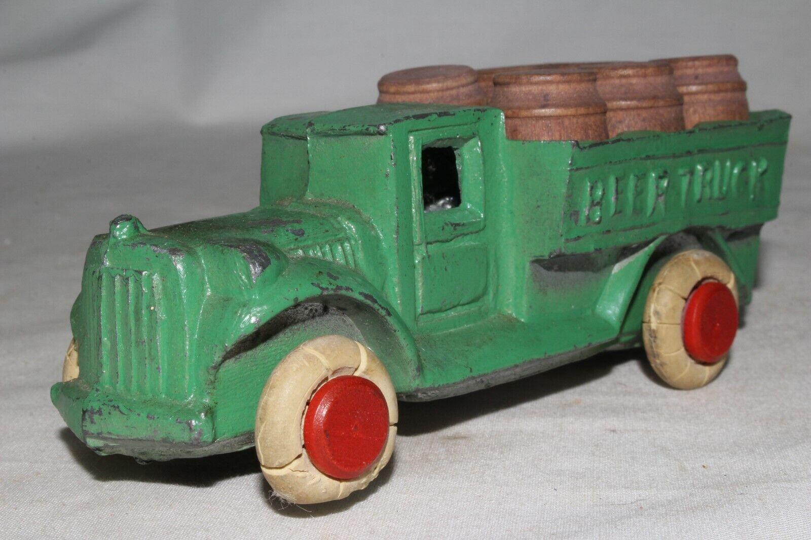 1930's Savoye Slush Cast Metal Beer Truck with Original Barrels, Nice Original