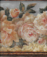 Victorian Pink And Yellow Cabbage Roses On Blue - 30 Foot Roll Wallpaper Border