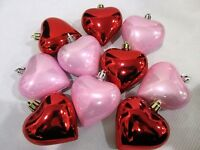 Valentines Day Large Pink Red Hearts 3 Gorgeous Ornaments Decorations Set Of 10