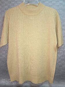 d55f290e2b2b97 Sag Harbor Petite Metallic Thread Gold Top Short Sleeve Women s LP ...