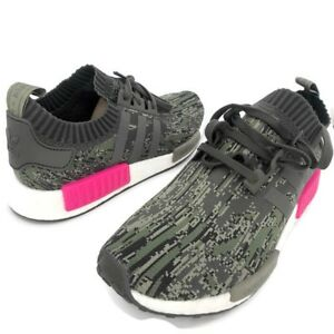 b446f4a5d6245 Adidas NMD R1 PK Primeknit Utility Grey Camo Shock Pink Size 12 NEW ...