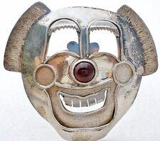 Sterling Silver Clown Brooch with Purple Garnet Gemstone Vintage Figural 925 Pin