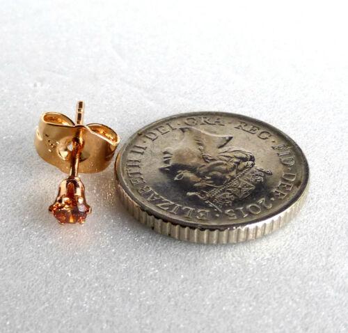 Adultos Niños pequeños Aretes Circonia Cúbica Enchapado En Oro Amarillo 18K 3mm Reino Unido