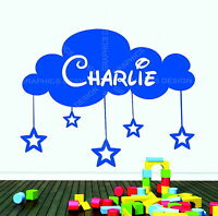 Personalised Boys or Girls Name Cloud With Stars Deco Vinyl Wall Sticker Bedroom
