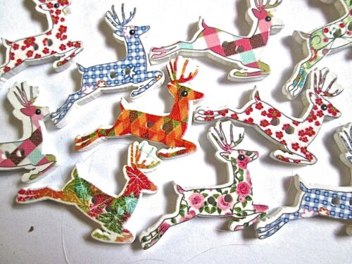 10//20//50 Wood REINDEER Buttons Assorted patterns  Sewing Quilting Scrapbook