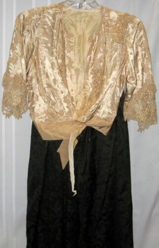 Victorian Two Piece Silk Dress - Cream Blouse with