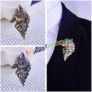 1xRetro-Europe-Wolf-Badge-Brooch-Lapel-Pin-Men-Women-Shirt-Suit-Accessory-Gift