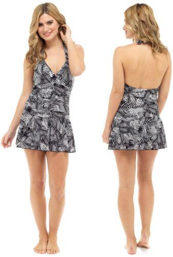 Women/'s new palm print halter neck swim dress with tummy control sizes 10 to 22